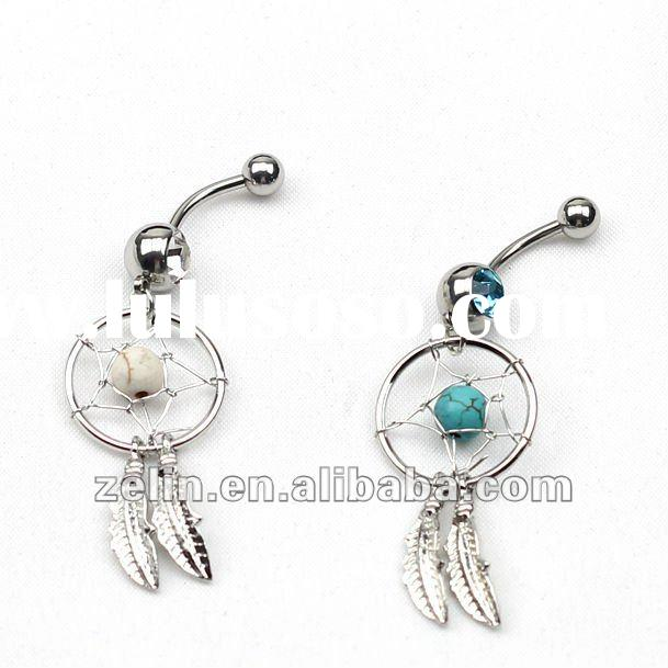 Turquoise Colour Dream Catcher Belly Navel Ring,body piercing jewelry,banana navel