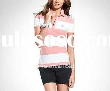 Wholesale girls casual white pink stripes polo t-shirts