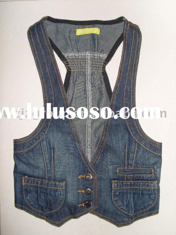 Women denim vest(2012 fashion women's jeans denim vest,ladies' vest )