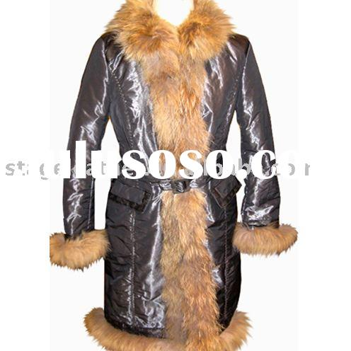 Women's shiny nylon fabric coat with faux fur at collar and sleeve opening