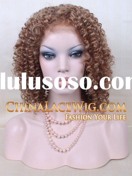 #4/6/30/27A streak color human hair curly full lace wigs