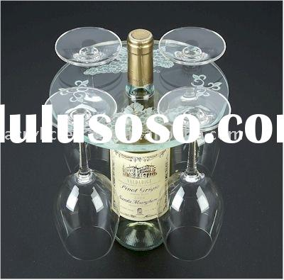 acrylic wine rack with 4 glass holder
