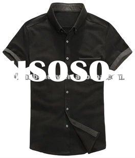 casual short sleeve cotton shirt for men black shirt with buttons