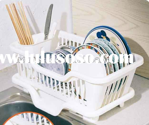 dish rack with tray,kitchen utensil rack,plastic dish drainer tray
