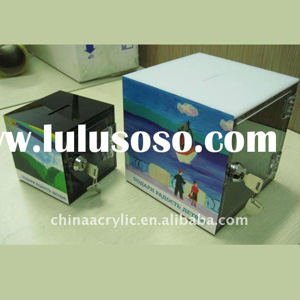 durable acrylic money box with lock
