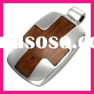 fashion custom metal and wood cross stainless steel jewelry pendant blanks