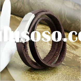 fashion leather bracelet jewelry for men with clasp braided leather charm bracelet souvenir bracelet