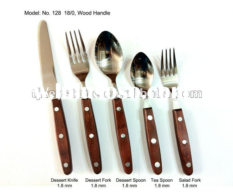 flatware set with wooden handle stainless steel cutlery tableware dinnerware spoon and fork