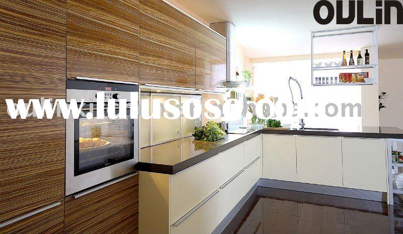 high quality wood veneer modern kitchen cabinets with microwave oven