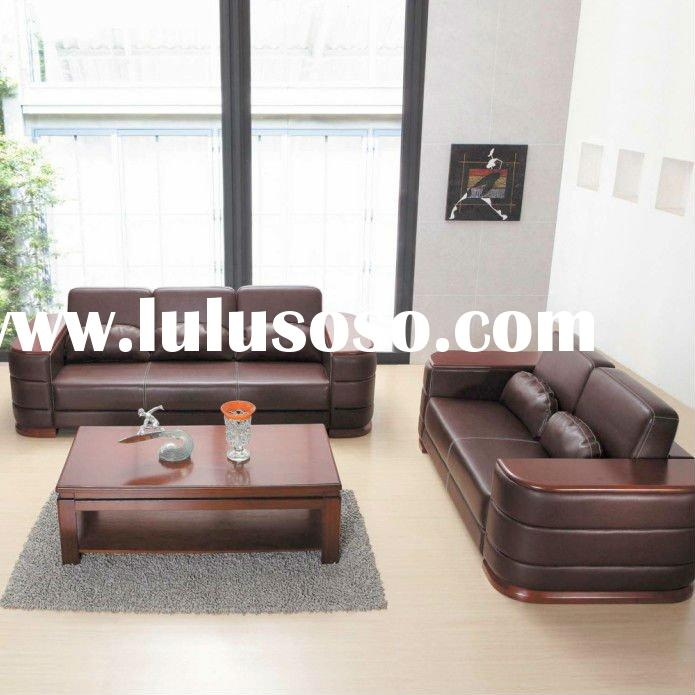 modern wooden frame leather office sofa set design