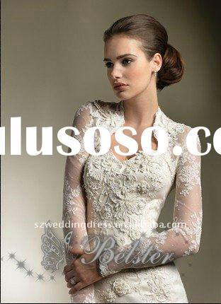newarrived luxury stunning a-line long sleeve lace wedding gowns with removable sleeve