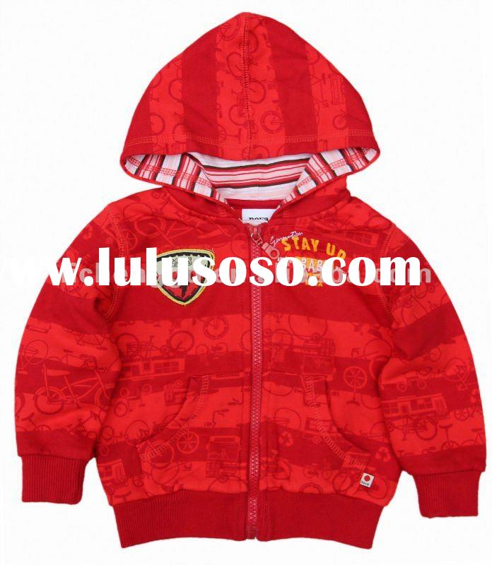 nova kids toddler baby boy spring stripe hoody zipper up sweat shirt A2518#RED