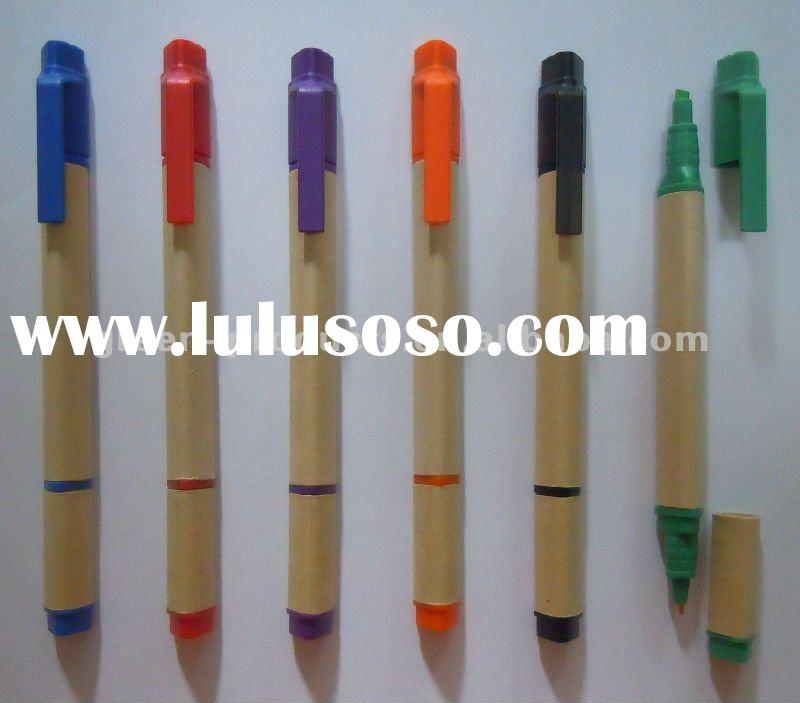 promotional recycled paper triangle highlighter pen and ball pen 2 in 1 pen (TNP012T)