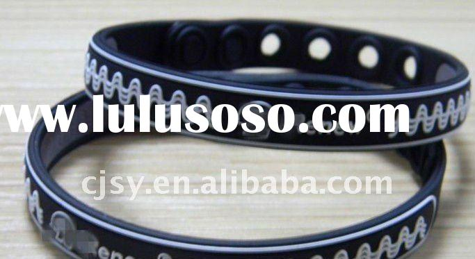 silicone wristband/promotion energy power band balance band add negative ion and hologram