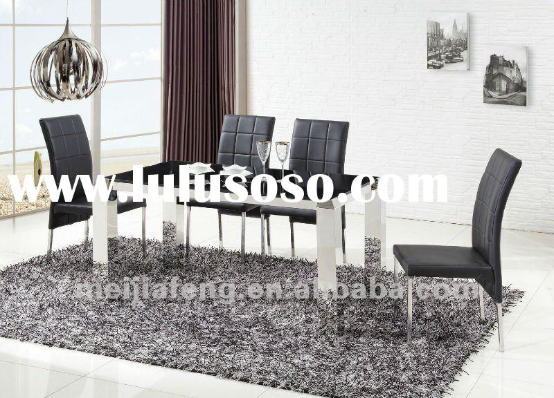 simple fashionable design modern stainless steel furniture Dining Table designs glass dining table