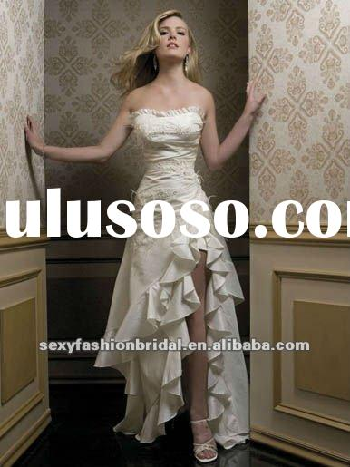 sweetheart lace feather and ruffle accented front short and long back slit wedding dress