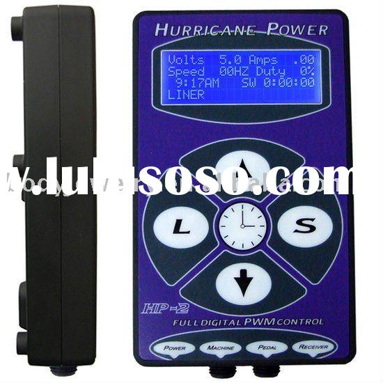 tattoo Power Supply Hurricane HP-2 Power with tattoo foodswitch and clip cord