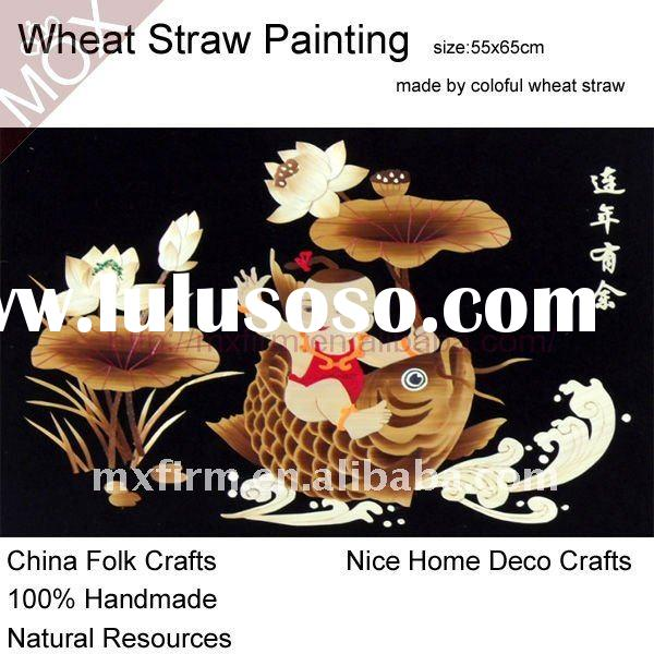 traditional chinese folk arts_New Year Fish wheat straw painting wall decoration for photo frame