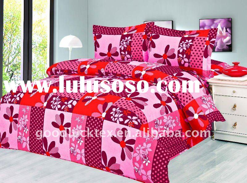 100% polyester bed sheet fabric flowers design popular in indoesina