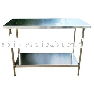 304 Brushed with shelf Stainless Steel Work Table