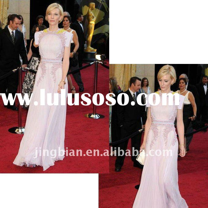 Cate Blanchett 2011 Oscar Floor Length High Neckline A-Line Chiffon Evening Dress Red Carpet dress E