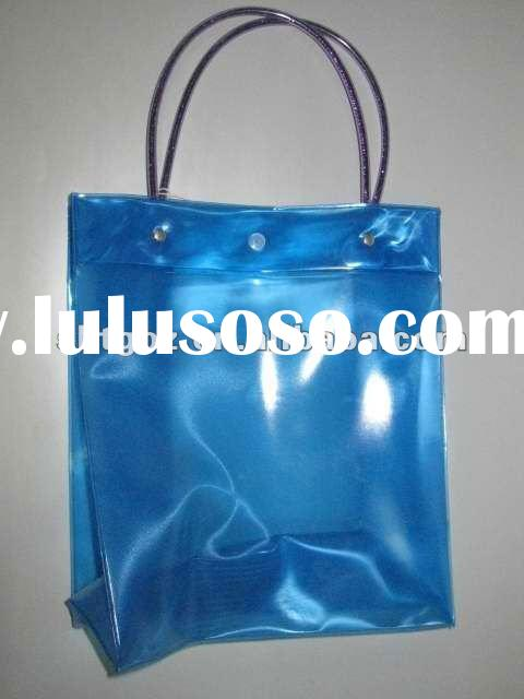 Clear wine cooler plastic bag for gift packaging with long handle