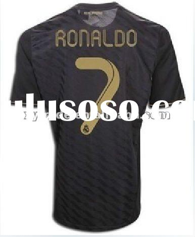 Fashion Thai quality Real Madrid away black soccer jersey with name number 2011/12