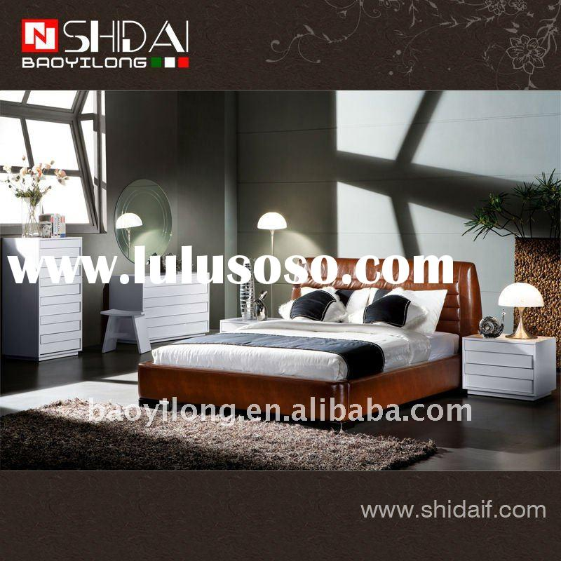 Fashion bed leather furniture set B-88