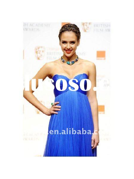 Jessica Alba Blue Formal Evening Dress At 2011 BAFTA Awards Red Carpet