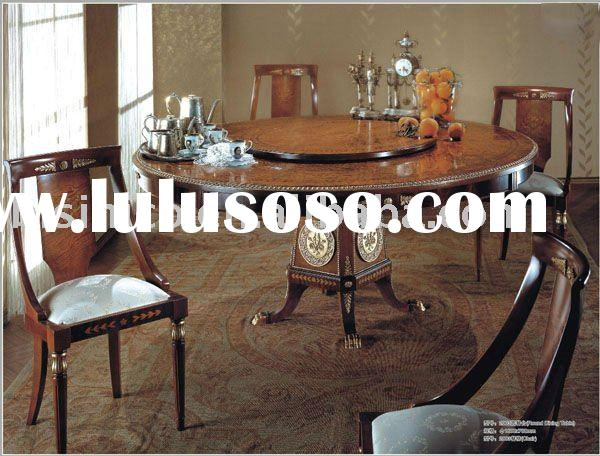 Luxury big round wooden dining table with chairs,MOQ:1SET(B10118)