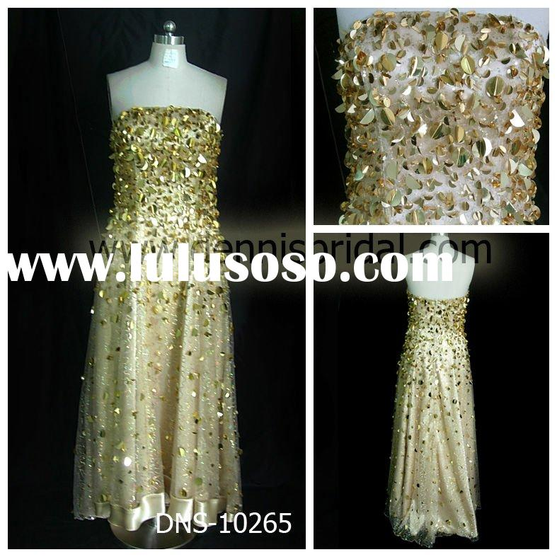 Red carpet evening dresses with sheath skirt, heavy beaded DNS-10265