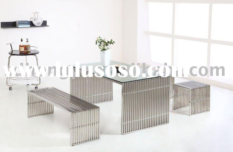 Stainless steel Dining set/high quality stainless steel coffee table/