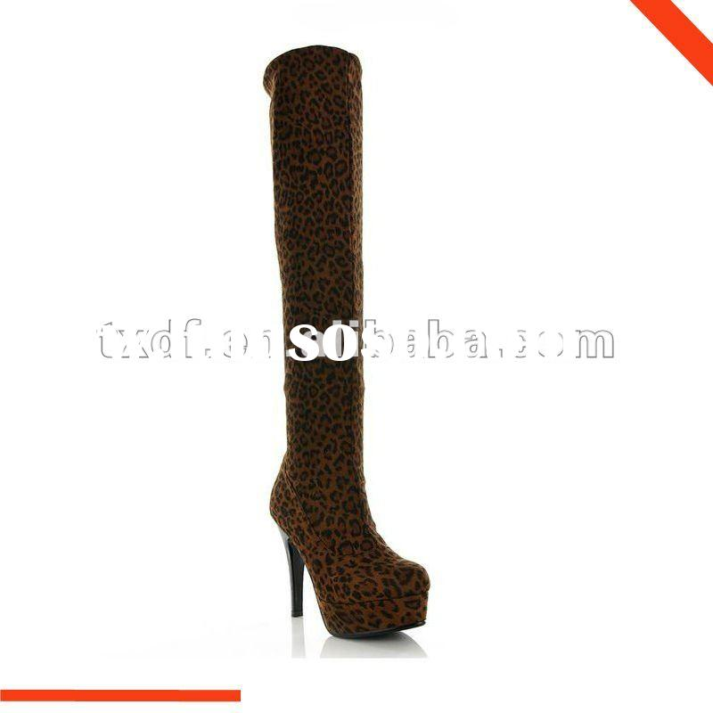 Tight over knee boots with high heels&elastic PU leather for women's foot wear