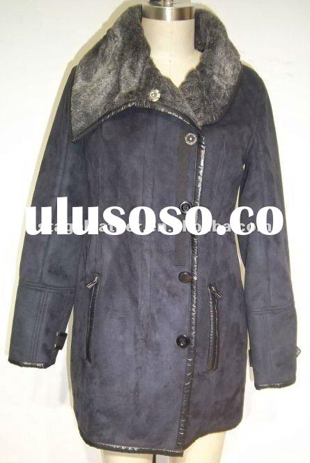 Women's Suede Leather Coat with Fur Collar