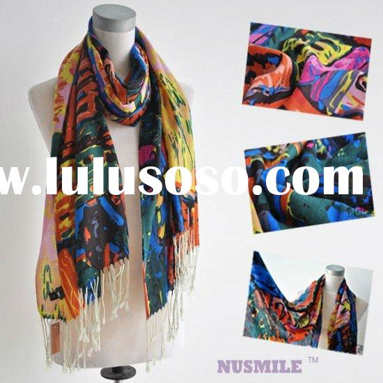 oil painting 100%wool Cashmere Scarf & Shawl