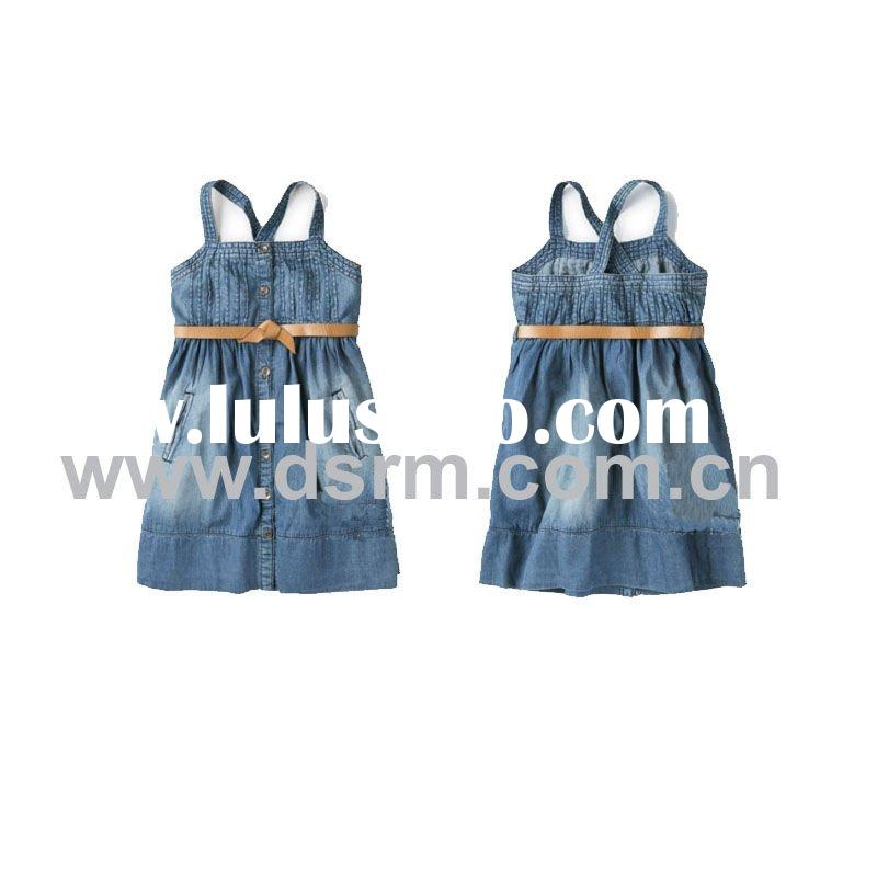 100%Cotton Denim fashion dresses for girls of 7 years old