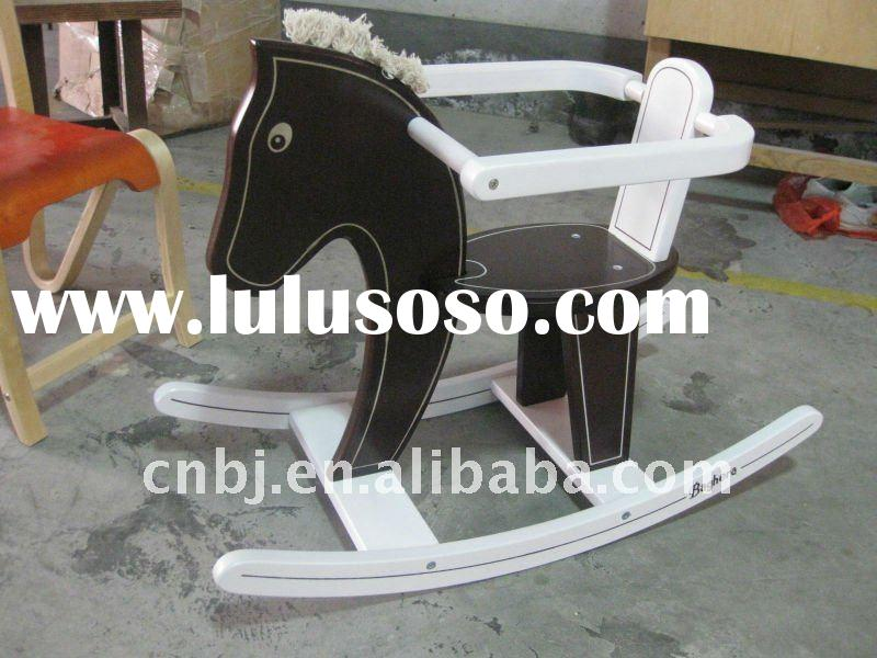 2011 Eco-friendly Children Natural Wooden Rocking Horse/Children Large Rocking Horse Toy/Children Fu