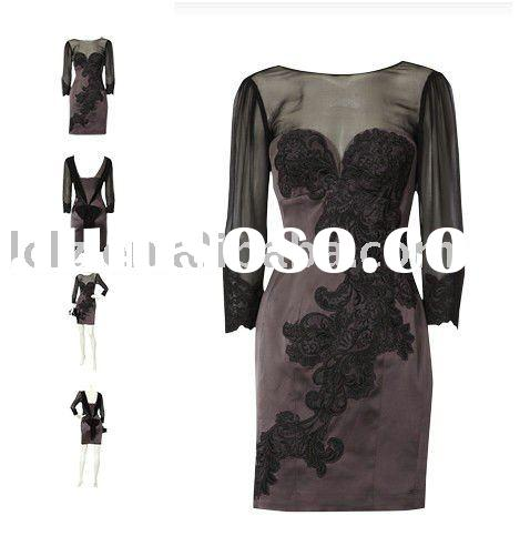 2011 black long sleeve lace fashion designer dress DK135