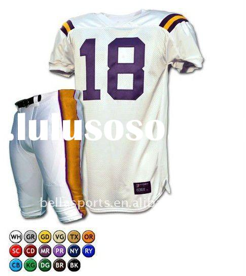 2012Customized 100% Polyester Mesh High Weight Fabric American Football Uniform American Jersey and