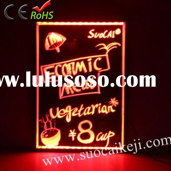 2012 Hotsale Neon led electronic tempered glass writing board