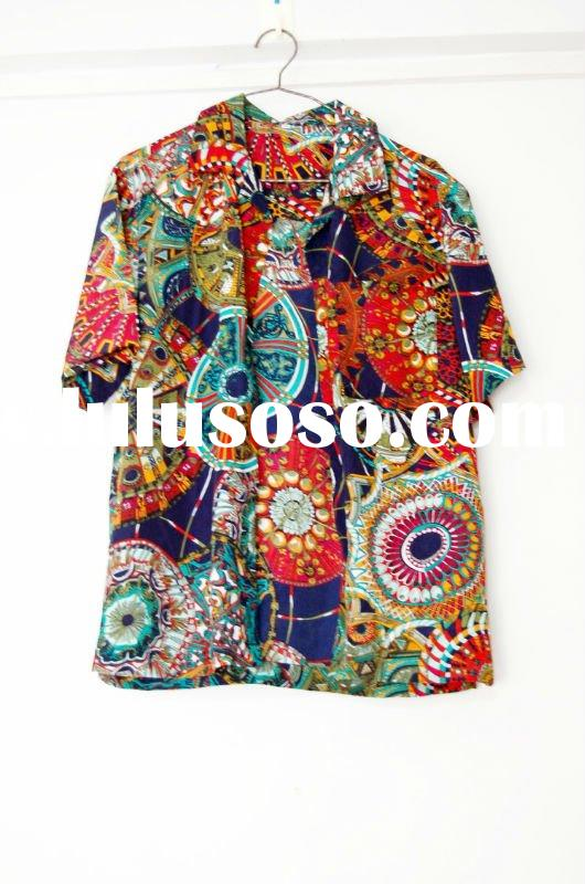 2012 New Style Men's Hawaiian Beach Shirts With Flower Printing Casual T-shirt(052)