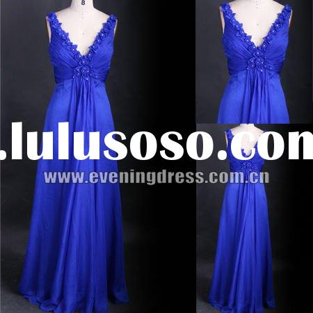 2012 Real Pictures Royal Blue Appliqued Latest Dress Designs For Ladies DD2012