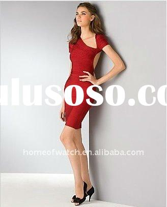 2012 Red Lady Backlass Dress Short Sleeves Party Evening Dress DH024