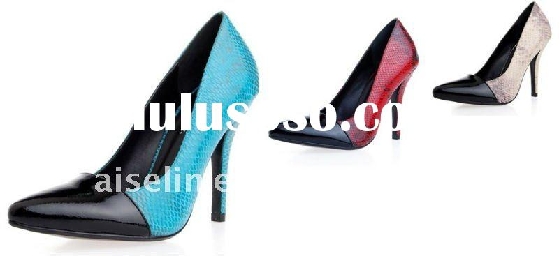 2012 latest design women high heel exotic skin shoes