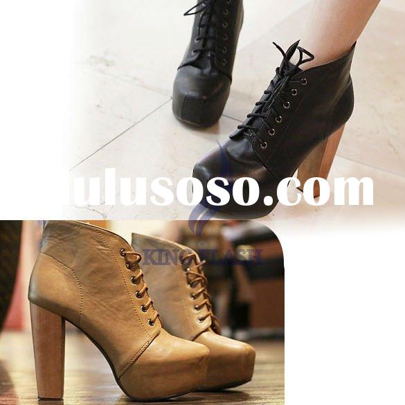 2012 new arrival fashion Women's Platform Round Toe High Heels Shoes Ankle Boots Black Whole