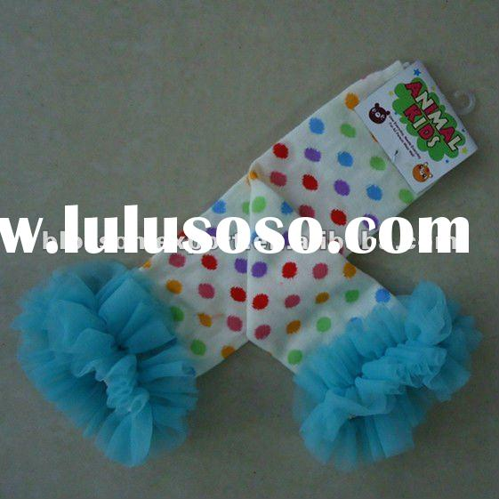 2012 wholesale rainbow dots baby leg warmers with ruffle