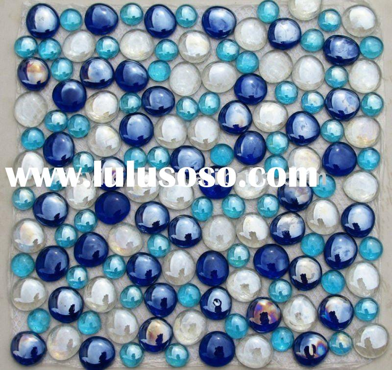 9mm thickness blue glass bead pebble glass mosaic for bathroom floor tiles,commercial pool tiles