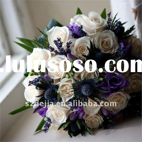 Artificial white Rose Bridal Flowers Bouquets for Wedding Decoration