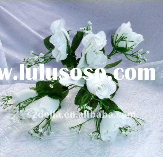 Artificial white rose Flower Bouquets cheap and beautiful