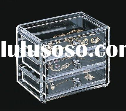 Clear Acrylic Deluxe 3 Drawer Jewelry Chest Box organizer
